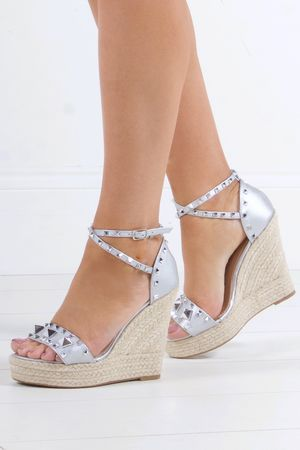 TIFFANY Silver Stud Espadrille Wedges With Silver Detail