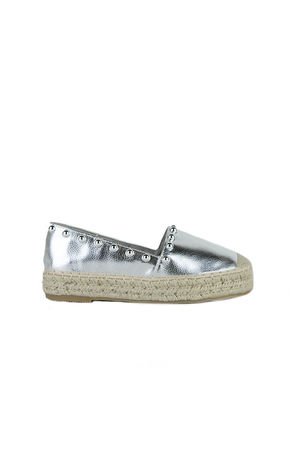 RENEE Silver Stud Espadrilles With Silver Detail