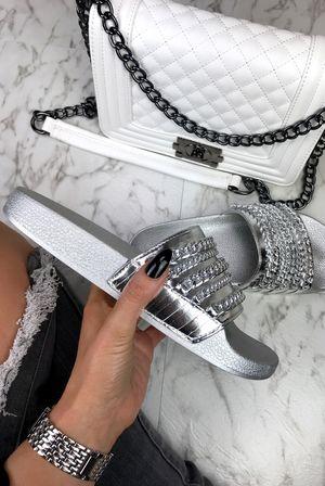 CAMERON Metallic Silver Chain Slider Sandal
