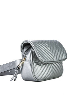JESSICA Silver Quilted Belt Bag