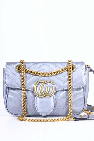 MARNIE Silver Quilted Emblem Shoulder Bag
