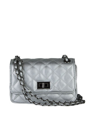 LEAH Silver Quilted Bag With Chain Detail