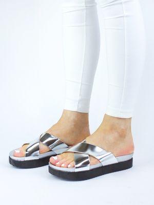 CORINA Silver Cross Over Slider Sandal