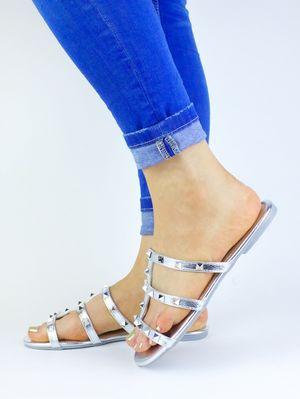 NATALIA Silver Stud Mule Sandal