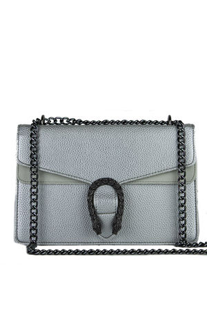 KAYLEIGH Silver Tiger Chain Shoulder Bag