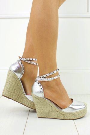 KATERINA  Silver Shimmer Studded Stacked Espadrille Wedges