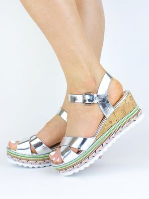 MORGAN Silver Metallic Braided Sandal