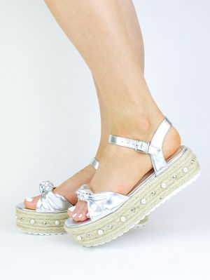 HARLEY Silver Bow And Pearl Espadrille