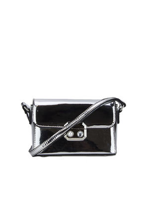 Silver Shoulder Bag With Pearl Detail
