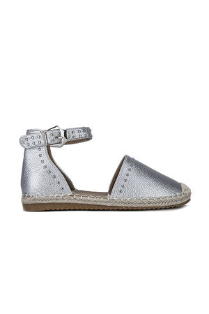 BRANDY Silver Stud Espadrilles With Silver Strap Detail