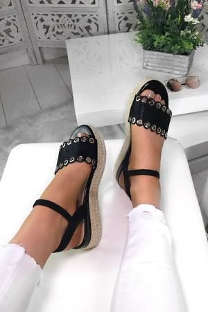 SKYE Black Eyelet Detail Espadrille Sandals