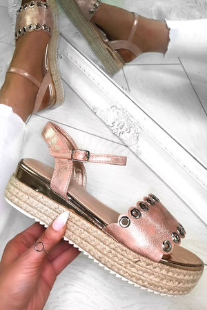 SKYE Rose Gold Eyelet Detail Espadrille Sandals