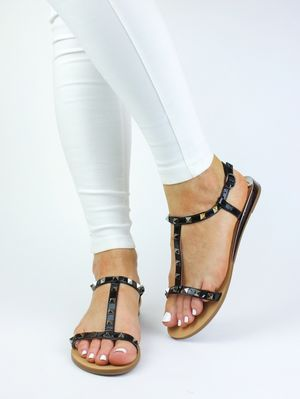 IVY Black Stud Sandals