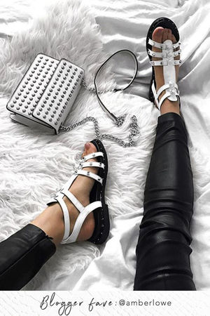 TAMARA White Gladiator Stud Sandals With Silver Detail