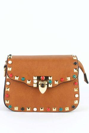 MAYA Tan Stud Shoulder Bag