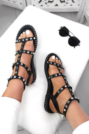 TARA Black Stud Cage Sandals With Silver Detail