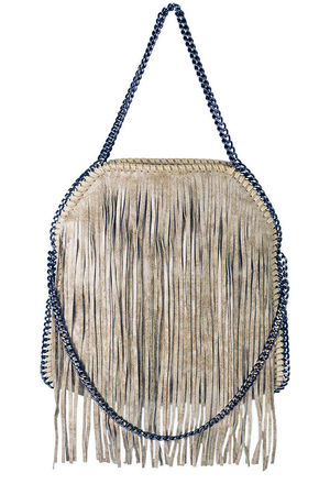 AVA Taupe Fringe Bag
