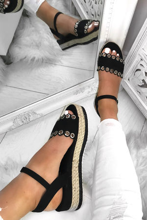 TILLY Black Espadrille Flatforms