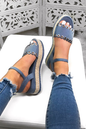 TILLY Blue Espadrille Flatforms