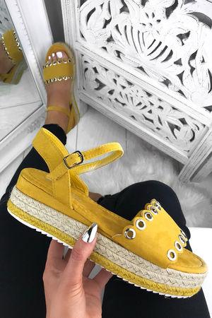 TILLY Yellow Espadrille Flatforms-Copy