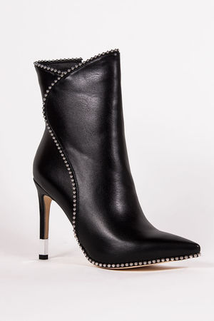 TRINITY Black Stiletto Pointed Toe Stud Boots