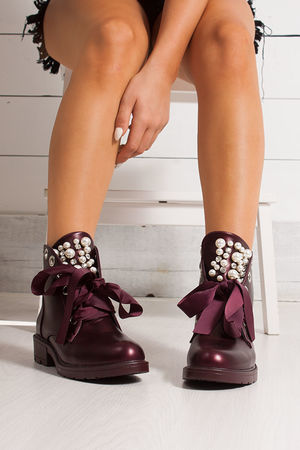 VIOLET Wine Ribbon Ankle Boot With Pearl Detail