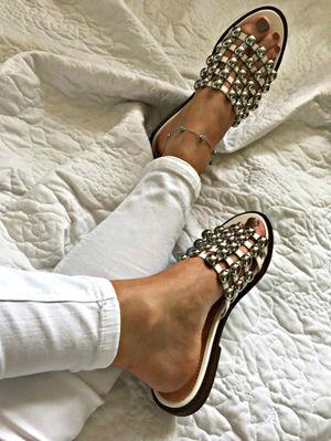 KAYA White Bauble Mule Sandal