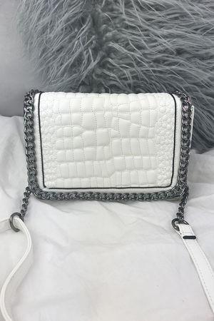 KYLIE White Faux Leather Crocodile Chain Bag