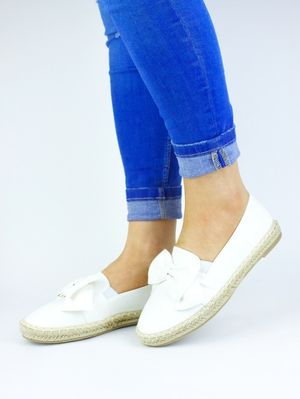 CIARA White Espadrille Bow Pumps
