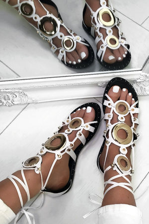 CASSIDY White Gladiator Sandals With Gold Detail
