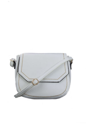 White Crossbody Bag with Gold Detail