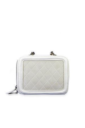 GEORGINA White Quilted Box Bag With Strap