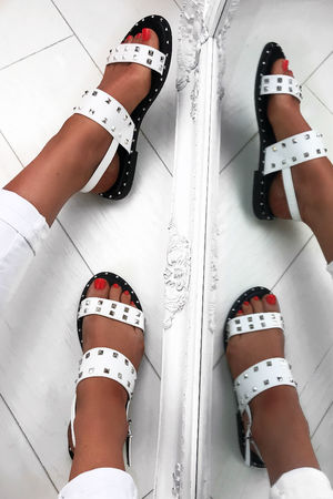 MARIAH White Sandals with Silver Stud Detail