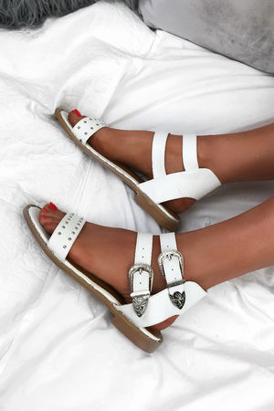 MARGO White Stud Buckle Sandals With Silver Detail