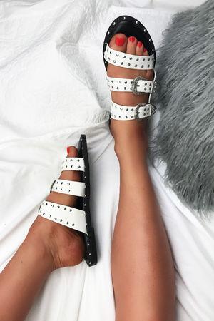 TAYLOR White Slip On Buckle Stud Slider Sandals
