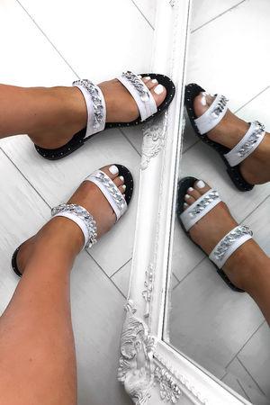 HEIDI White Chain Slider Sandals With Stud Detail