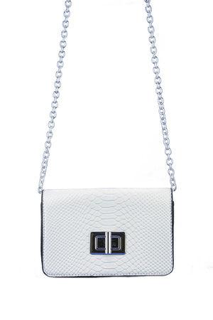 EVELYN White Snake Print Shoulder Bag