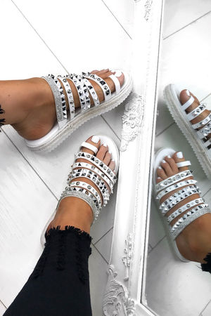 KHLOE White Strappy Diamante Espadrille Sandals