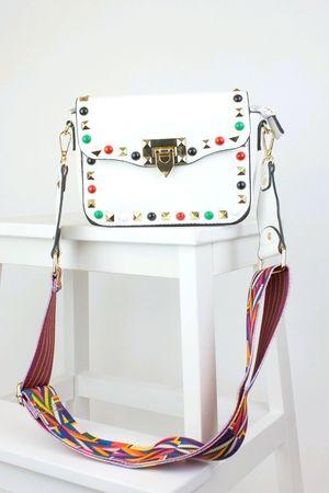 GABRIELLA White Stud Cross Body Bag