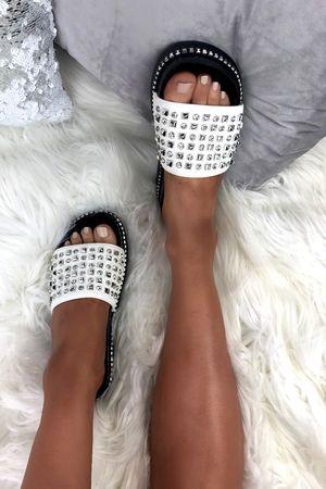 ARABELLA White Stud Diamante Sliders