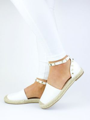 CLAUDIA White Faux Leather Stud Espadrille