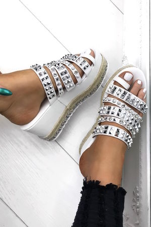 DARCY White Stud Diamante Espadrille Flatforms With Silver Detail
