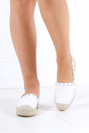 RENEE White Stud Espadrilles With Silver Detail