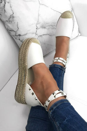 BONITA White Espadrille Flatforms With Stud Detail