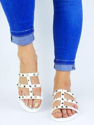 NATALIA White Stud Mule Sandal