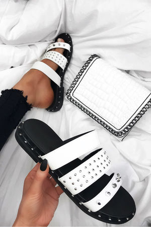SUMMER White Stud Slider Sandals With Silver Detail
