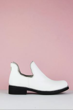 PIXIE White Cut Out Stud Ankle Chelsea Boots