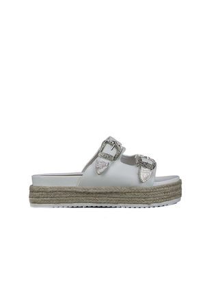 WANDA White Western Buckle Slider Sandals With Silver Detail