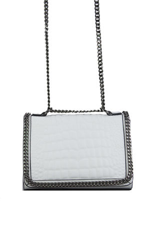 AURORA White Crocodile Cross Body Chain Bag