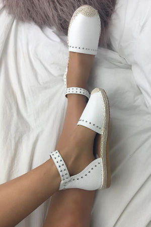 BRANDY White Stud Espadrilles With Silver Strap Detail